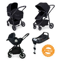 Ickle Bubba Moon i-Size 3 in 1 Travel System Mercury Car Seat With Isofix Base - Black - Black