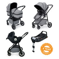 Ickle Bubba Moon i-Size 3 in 1 Travel System Mercury Car Seat With Isofix Base - Black - Space Grey