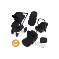 Ickle Bubba Stomp V2 All-In-One Travel System - Pushchair, Carrycot, Car Seat & Accessories - Black - Black