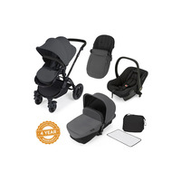 Ickle Bubba Stomp V2 All-In-One Travel System - Pushchair, Carrycot, Car Seat & Accessories - Black - Graphite Grey