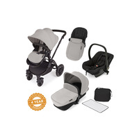 Ickle Bubba Stomp V2 All-In-One Travel System - Pushchair, Carrycot, Car Seat & Accessories - Black - Silver