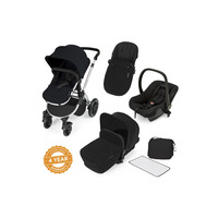 Ickle Bubba Stomp V2 All-In-One Travel System - Pushchair, Carrycot, Car Seat & Accessories - Silver - Black