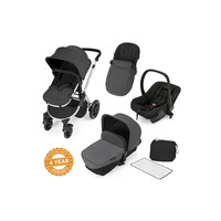 Ickle Bubba Stomp V2 All-In-One Travel System - Pushchair, Carrycot, Car Seat & Accessories - Silver - Graphite Grey