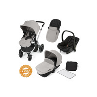 Ickle Bubba Stomp V2 All-In-One Travel System - Pushchair, Carrycot, Car Seat & Accessories - Silver - Silver