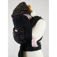 Mei Tai With Hood & Pocket - Black With Small Polka Dots
