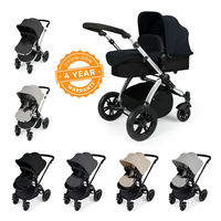Ickle Bubba Stomp V2 All-In-One Travel System - Sand On Silver Frame - Pushchair, Carrycot, Car Seat & Accessories